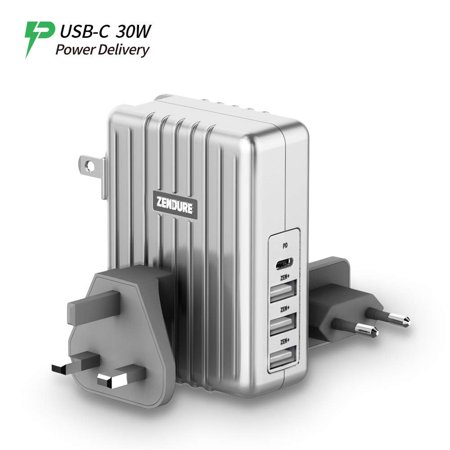 New Zendure USB-C 4-Port 45W PD Wall Charge with a 30W Power Delivery Port (QC 3.0 Compatible) and 3 Zen+ Smart Fast-Charging Ports for MacBook, iPhone X/ 8 Plus, Samsung S8 and More - Silver New Compatible Wall