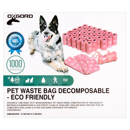 OxGord 1,000 Pet Dog Waste Bags for Poop Removal Disposal with Bone Dispenser and Leash Clip Pink