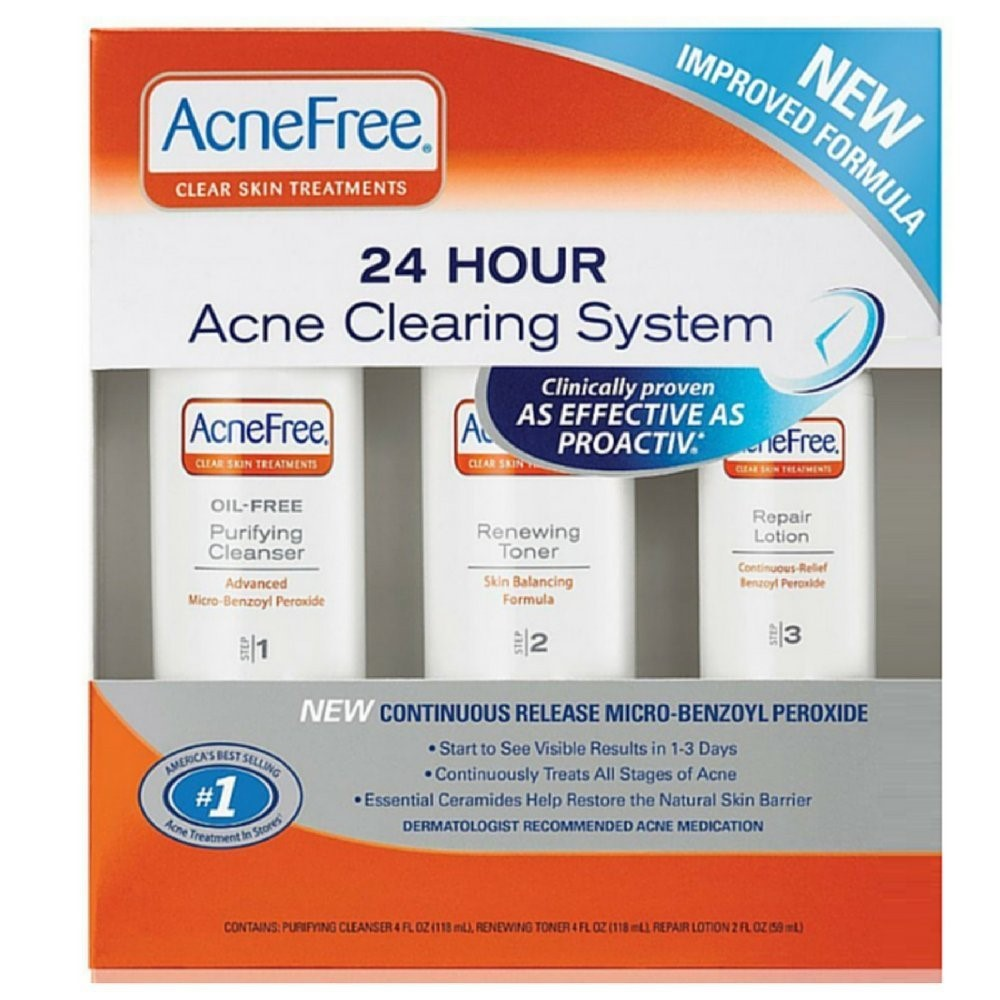 AcneFree Acne Clearing System Kit - Cleanser, Renewing Toner & Repair Lotion, 1 Kit