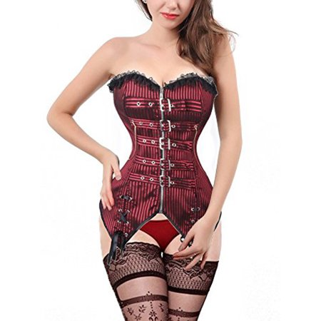 SAYFUT Fashion Women's Striped Gothic Overbust Corset Busiter Waist Training Shapewear With G-string Black/Red Plus Size S-2XL](Black And Red Corset Top)