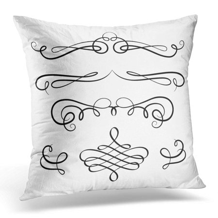 BOSDECO Certificate Vintage Calligraphic Vignette Design in Retro Style Scroll Embellishment on White Antique Pillowcase Pillow Cover Cushion Case 20x20 inch - image 1 of 1