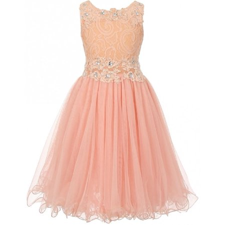 Embroidered Design Rhinestone Princess Big Flower Girls Dresses Peach 10 Beautiful elegant lace dress with overlay mesh skirt. Dress is accented with beautiful embroidered design and rhinestones on neck and waistline. Waistline middle section is see through. Perfect for Flower Girls Dresses, Pageant Girls Dresses, Wedding Dresses, and Bridesmaid Dresses.