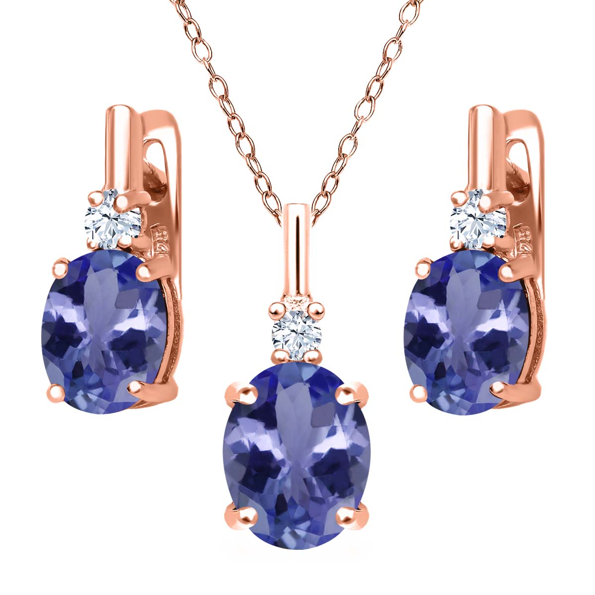 5.15 Ct Blue Tanzanite AAAA 18K Rose Gold Plated Silver Pendant Earrings Set by