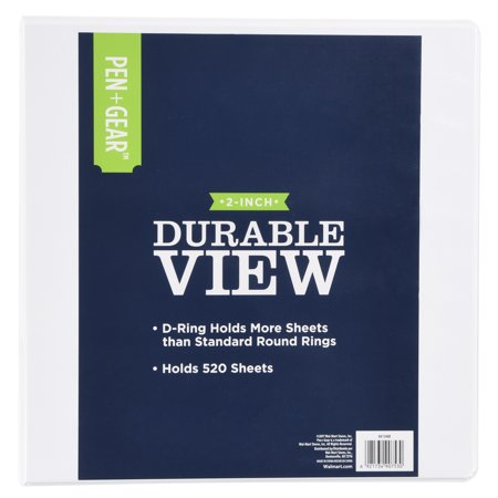 pen gear durable view binder with three 2 inch rings white 520