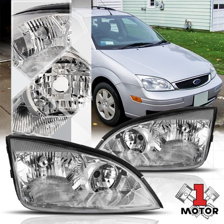 Chrome Housing Clear Lens Replacement Headlight Lamp for 05-07 Ford Focus Gen 3 06