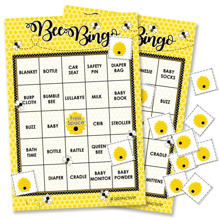 Bumble Bee Baby Shower Bingo | 24 Player Game Cards