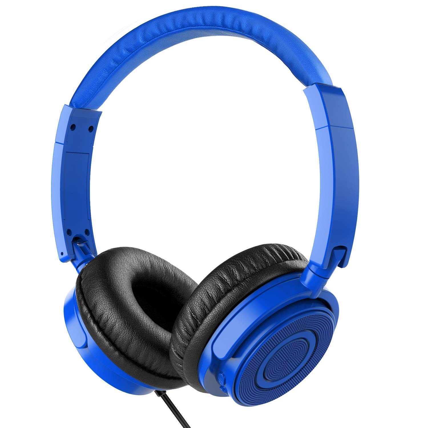 On Ear Headphones with Mic, Vogek Wired Foldable Bass Headphones with Volume Control and Microphone-Blue