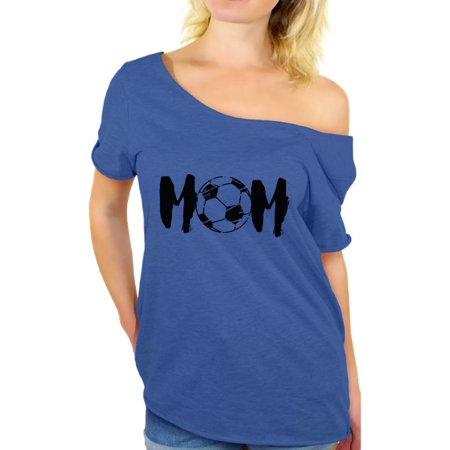 Awkward Styles Women's Soccer MOM Mothering Graphic Off Shoulder Tops T-shirt Black Sport Mom Mother's Day Gift - Soccer Mom Emoji