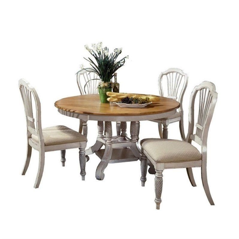Hillsdale Wilshire 5 Piece Round Dining Table Set in Anti...