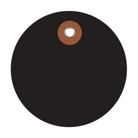 Plastic Circle Tags Black 3  (100 Per/Case) 3  Black Plastic Circle Tags (100 Tags) Waterproof vinyl for wet or damp applications.