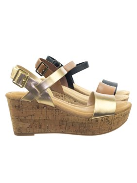Air by City Classified, Cork Platform Wedge Sandal w Soft Comfortable Foam Padding