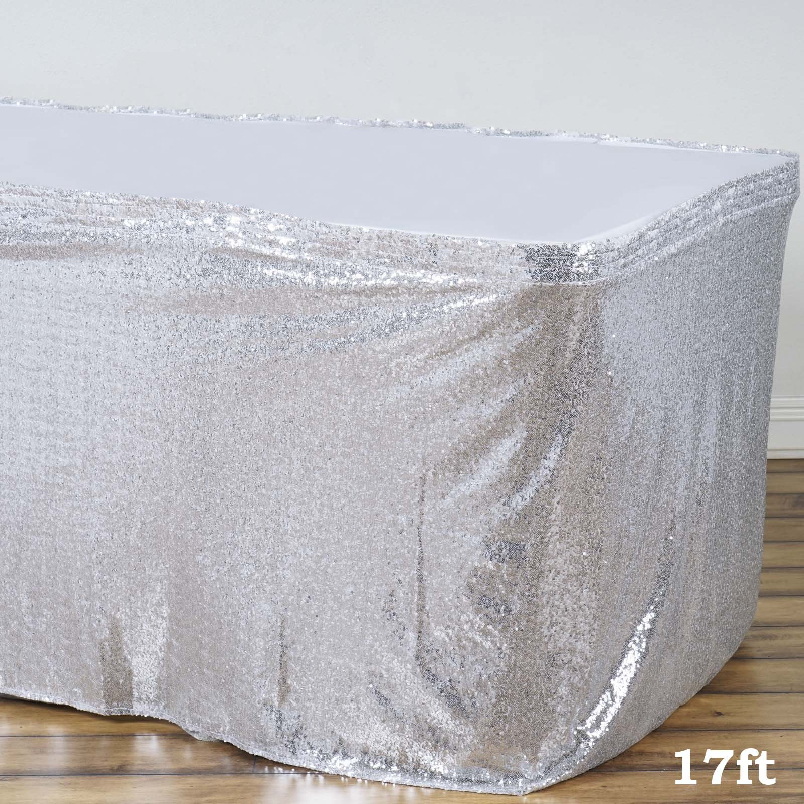 BalsaCircle Sequin Banquet Table Skirt - Wedding Party Trade Show Booth Events Linens Decorations