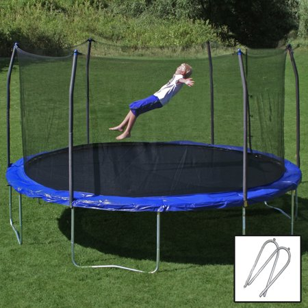 Skywalker Trampolines 14-Foot Trampoline, with Wind Stakes, Blue (Box 1 of 2)