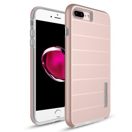 Apple iPhone 7 Plus/8 Plus Case, by Insten Dots Textured Fusion Dual Layer [Shock Absorbing] Hybrid Hard Plastic/Soft TPU Rubber Case Cover For Apple iPhone 7 Plus/8 Plus, Rose Gold/White - image 4 de 4