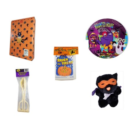 Halloween Fun Gift Bundle [5 Piece] -  Cat Pumpkin Push In 5 Piece Head Arms Legs - McDonald's Haunted House, RIP, Boo  Plate -  Trick or Treat Bags 40/ct - Skeleton Server  - Manley Toys  Costume C