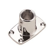 "Sea Dog Rail Base Fitting 90-Degree Rectangular Base Tube, O.D. 7/8"", #10 FH Fasteners, Zinc Chrome-Plated"