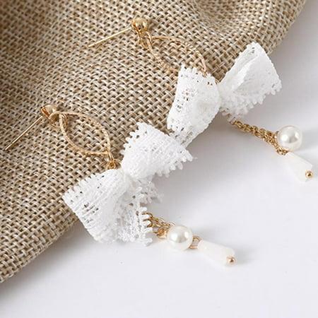 KABOER Earrings Sweet Cute Lace Bow-knot Tassel Pearl Drop Dangle Earrings  Funny Painted Lace Earrings