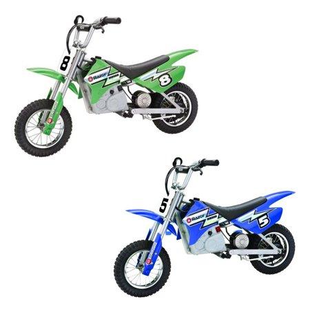 Razor Dirt Rocket Kids Electric Motocross Motorcycle Bikes, 1 Green & 1 Blue Youth Blue Dirt Bike