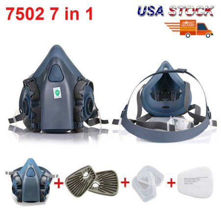 7 in 1 Suit 7502 Silicone Half Face Gas Dust Mask Respirator Painting Spraying (Seven Dust Spray)
