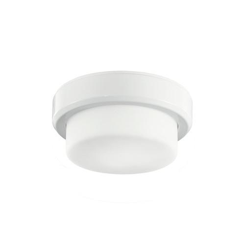 One Light White Drum Shade Flush Mount