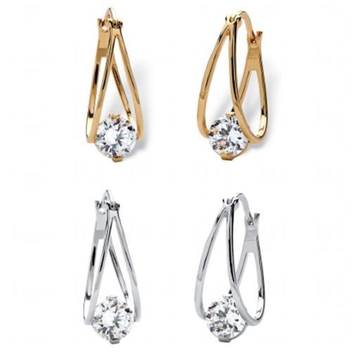 PalmBeach Jewelry 56529 8 TCW Round Cubic Zirconia Split Hoop Two-Pair Drop Earrings Set in Silvertone and 14k