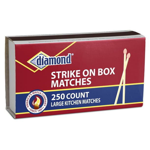 Diamond Kitchen Matches, Large Strike On Box Matches, 250 Ct for Everyday Essential Matches for Lighting Candles, Grills, Fireplaces and Firepits