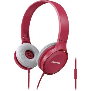 Panasonic Lightweight On-Ear Headphones with Mic + Controller, Pink