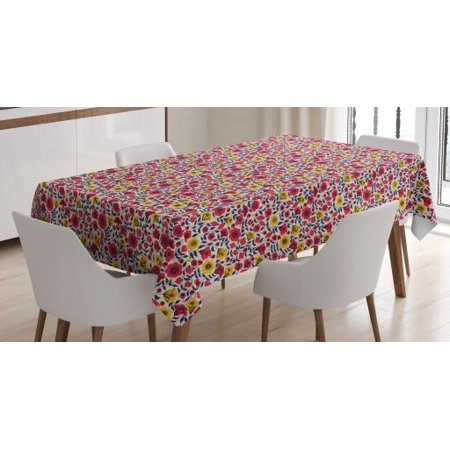 Garden Art Tablecloth, Blooming Botany Silhouettes Prospering Flowers Arrangement on Beige Backdrop, Rectangular Table Cover for Dining Room Kitchen, 52 X 70 Inches, Multicolor, by Ambesonne