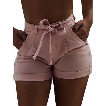 Plus Size Casual Shinny Denim Shorts Jeans For Women Summer Ladies High Waist Jegging Casual Short Jeans Pants With Belt  Beach Short Pants Pink - Replacement Short Belt
