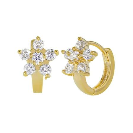 - 14k Gold Plated Clear Crystal Flower Huggie Little Hoop Earrings for Women 10mm