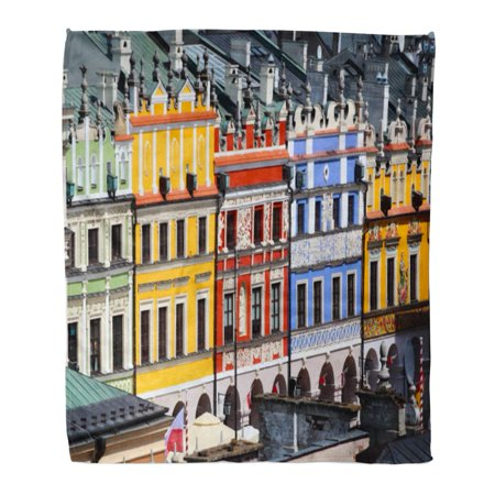 ASHLEIGH Flannel Throw Blanket Zamosc Poland May Facades of Old Colorful Buildings on Historical Great Market in The Center Town UNESCO World 50x60 Inch Lightweight Cozy Plush Fluffy Warm Fuzzy Soft](Old World Market Halloween)
