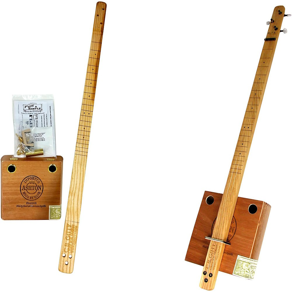 C.B. Gitty Cigar Box Pure & Simple 3-String Slide Guitar Kit Natural