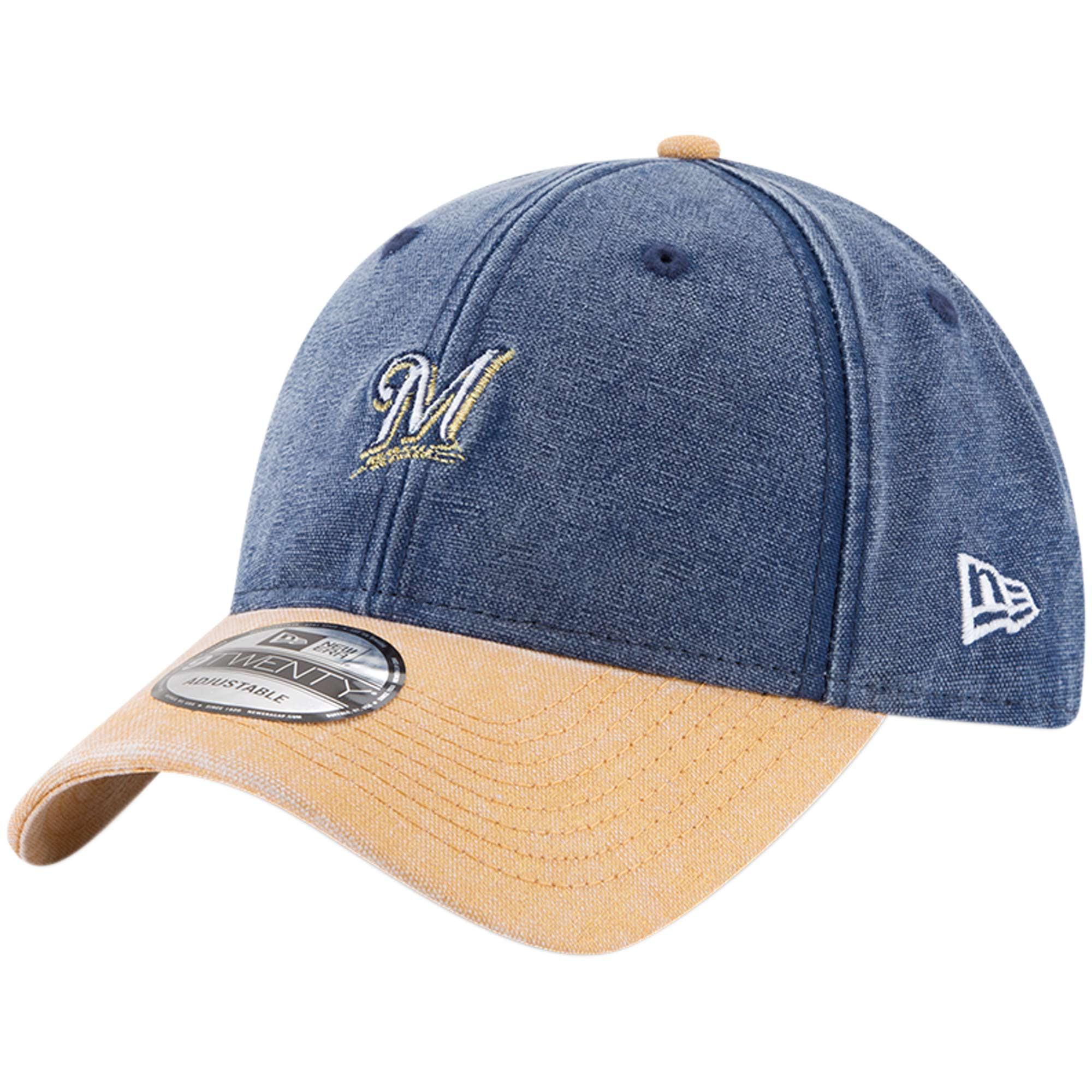 Milwaukee Brewers New Era Rugged 9TWENTY Adjustable Hat - Navy - OSFA