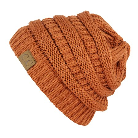 Unisex Trendy Warm Chunky Soft Stretch Cable Knit Slouchy Beanie Skully-HAT20A-Copper