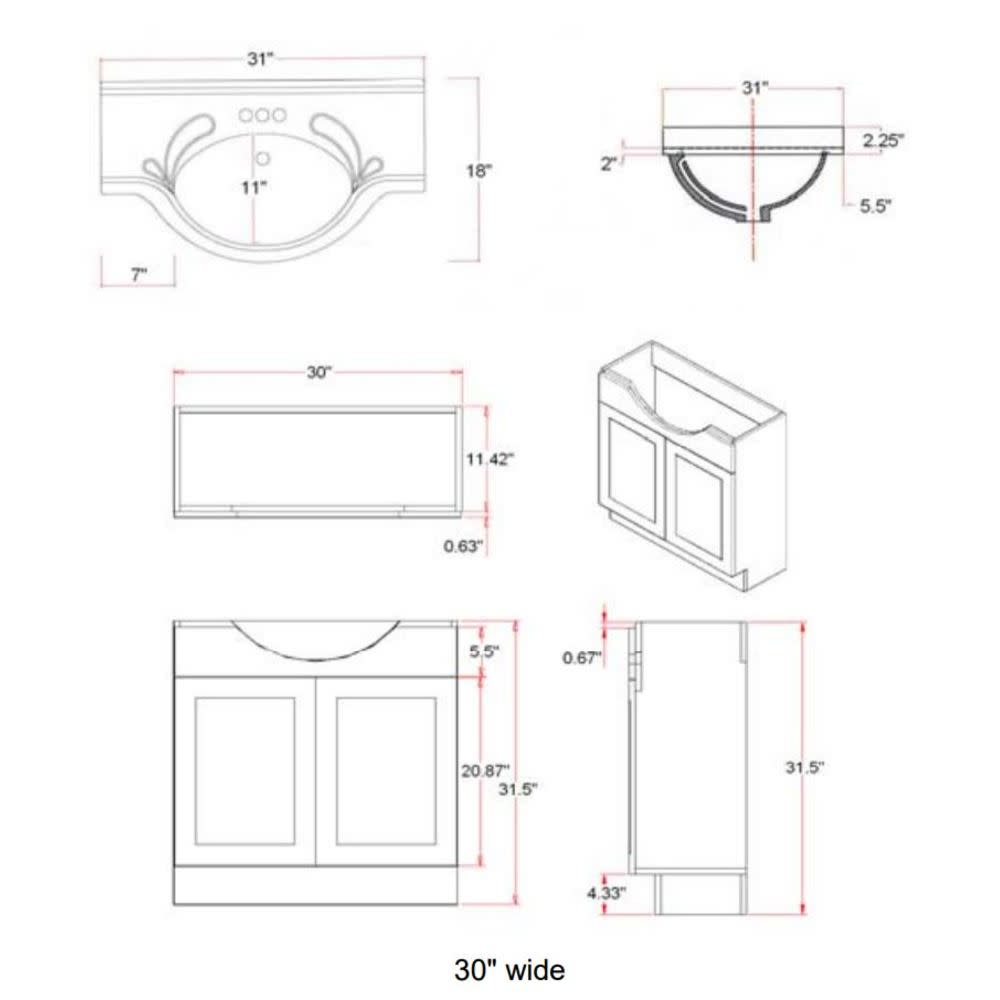 31-Inch by 18-Inch by 31.5-Inch Design House 541698 Vanity Combo Vanity Espresso Bathroom Cabinet with 2-Doors