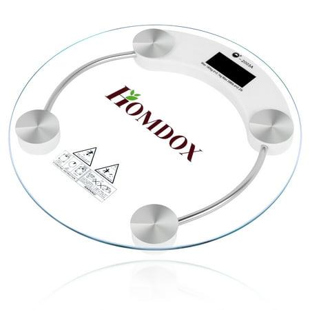 Homdox Round Glass Lcd Electronic Digital Bathroom Scale Body Weight Bath Scale