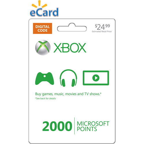 Xbox Live 2000 Points Card (email Delive