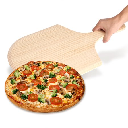 Yosoo Wood Pizza Tray,Solid Wood Pizza Tray Plate Handle Bread Roll Cake Kitchen (12
