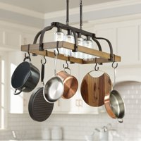 "Franklin Iron Works Bronze Wood Pot Rack Linear Pendant Chandelier 36 1/2"" Wide Rustic Farmhouse Seeded Glass 4-Light for Kitchen"