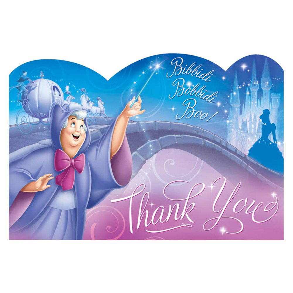 Cinderella Postcard Thank You Cards (8 Pack) - Party Supplies