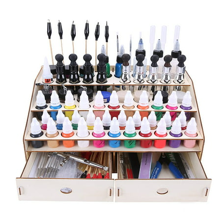 Wooden Paint Rack Stand Pigment Ink Bottle Paints Tool Storage with Cabinet Holder Modular Organizer for 15/80 Bottles of Paints (Paint Bottle Organizer)