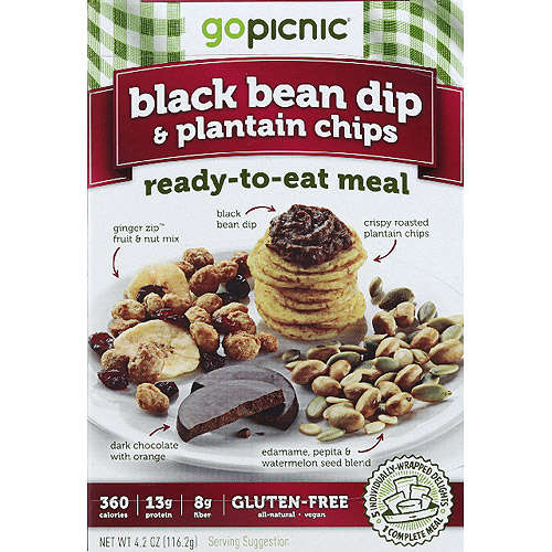 GoPicnic Black Bean Dip & Plantain Chips Ready-to-Eat Meal, 4.2 oz, (Pack of 6)