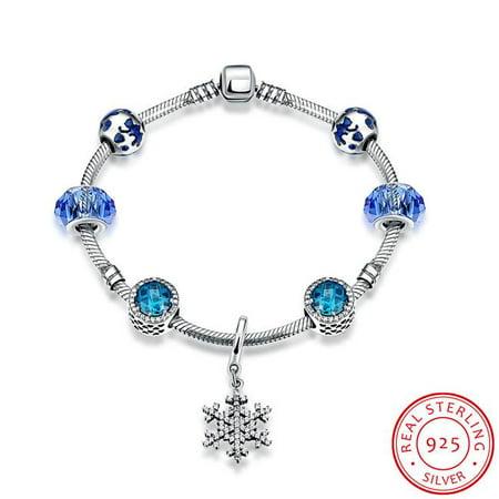 Azori Jewelry Pdrsvh005 19 0 925 Sterling Silver Sapphire Snowflake Pandora Inspired Bracelet