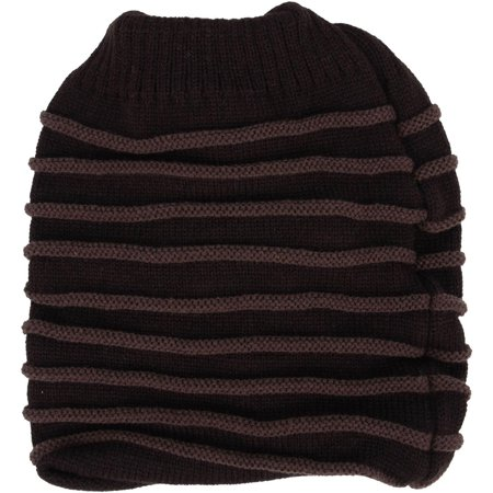 Winter Warm Women Girls Ponytail Messy Stripe Ribbed Beanie Hat -