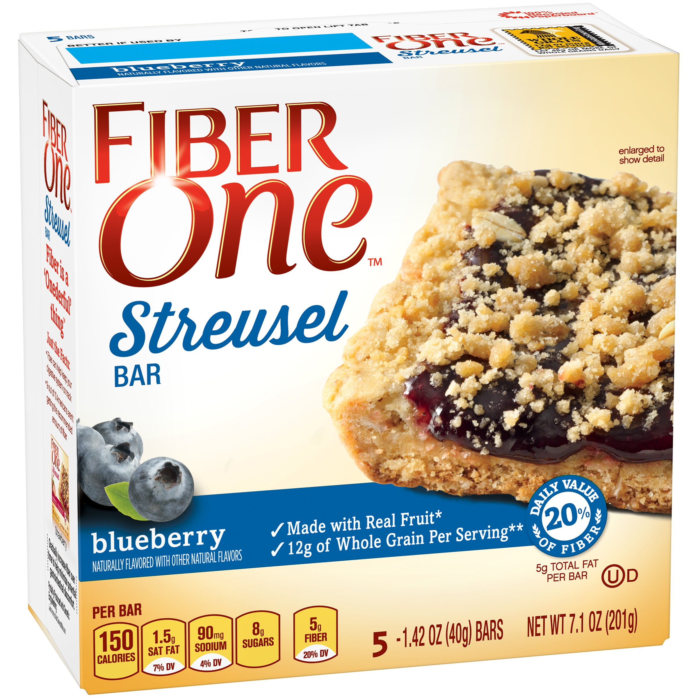Fiber One Streusel Bar Blueberry 5 - 1.42 oz Bars