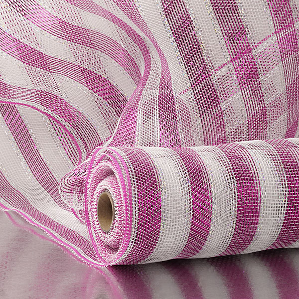 "21"" X 10 Yards Hot Pink Wide Stripe Metallic Deco Mesh by Paper Mart"