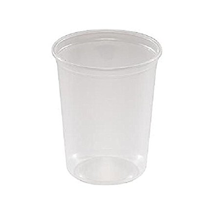 SafePro 32HDB, 32 Oz Clear Plastic Soup / Food Containers with Lids, Translucent To-Go