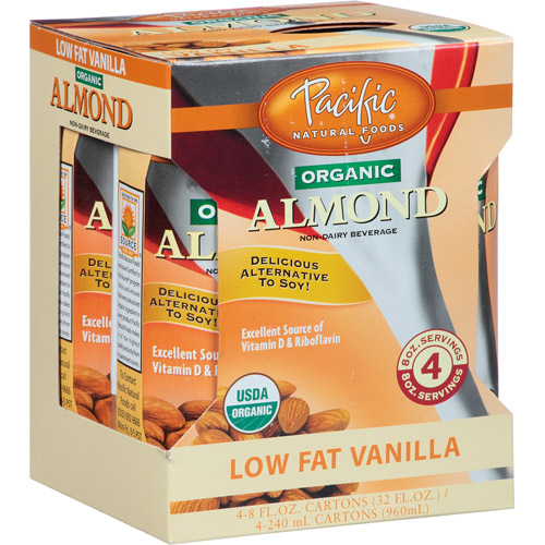 Pacific Natural Foods Organic Almond Non-Dairy Beverage, 4 count, 8 fl oz, (Pack of 6)
