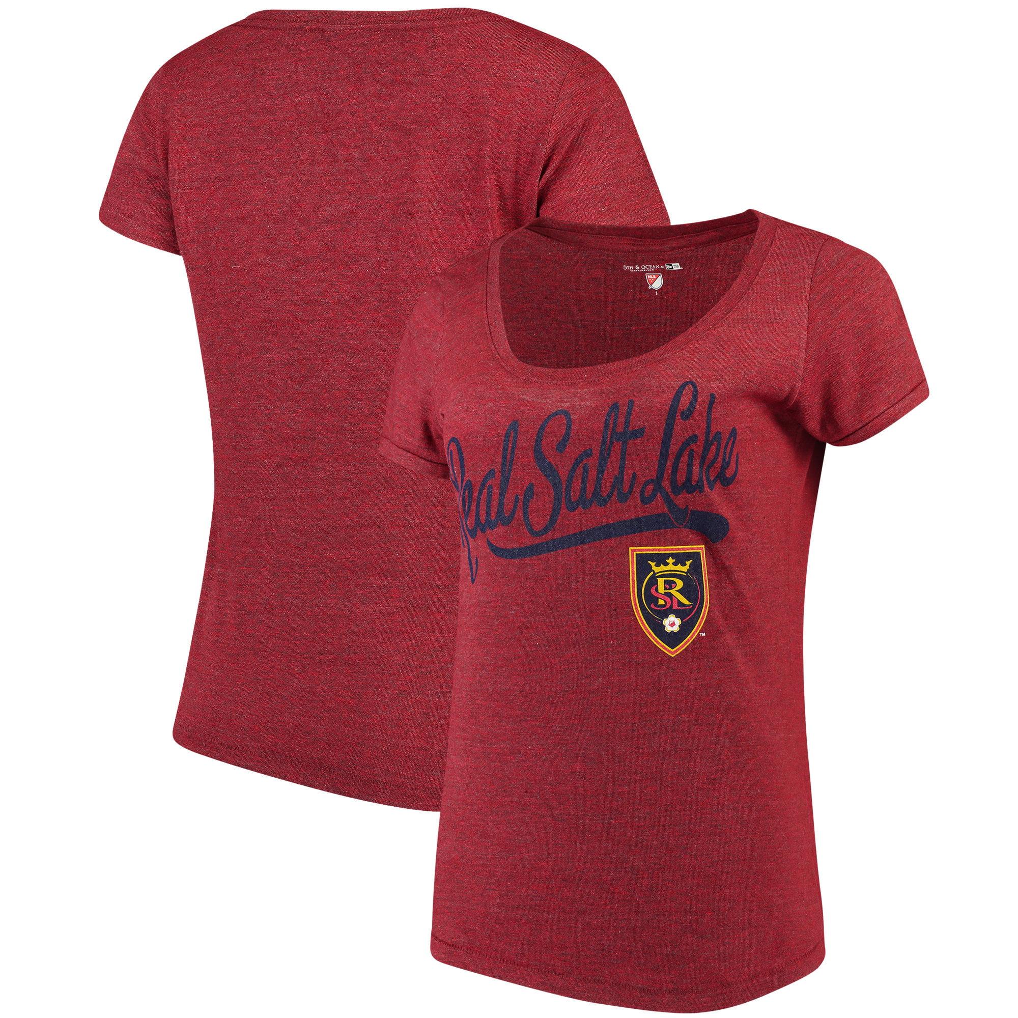 Real Salt Lake 5th & Ocean by New Era Women's Scoop Neck Tri-Blend T-Shirt - Red