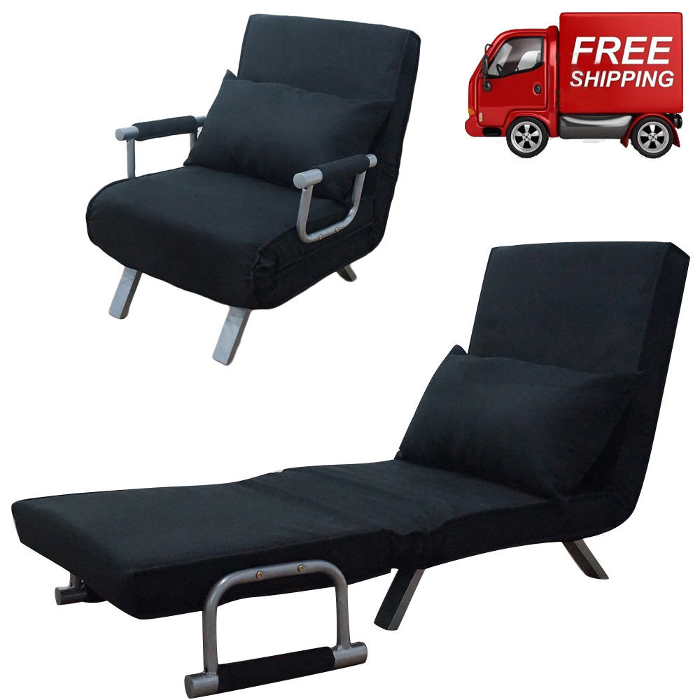 Zimtown Folding Sleeper Flip Chair Convertible Sofa Bed Lounge Couch Pillow 5 Position